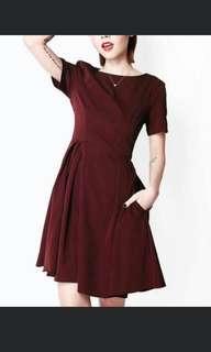 Afa Hailey Skater Dress burgundy