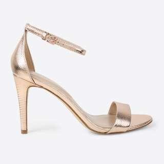 BNIB Aldo Camy Heeled Sandals in Metallic Rose Gold