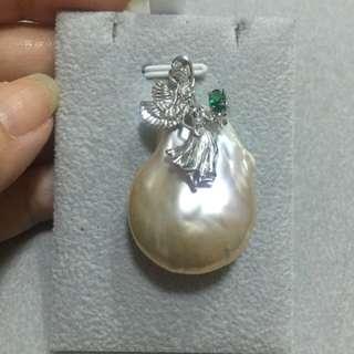 純銀鍍白金天然異形珍珠吊墜