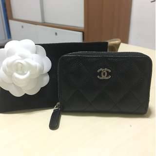 BRAND NEW: CHANEL Caviar Quilted Zip Coin Purse Black
