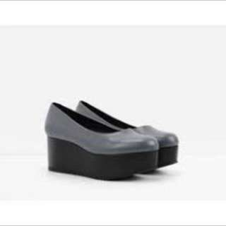 Charles and Keith Black Platform Shoes