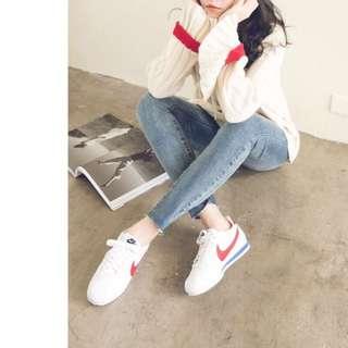 日本帶回!NIKE正品阿甘女鞋!熱賣色號紅勾藍白拼接W CLASSIC CORTEZ LEATHER