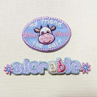 Iron On Patch/ Applique ↪ Adorable Cow Badge  🐄🐄 💱 $3.90 Each Set - 2 Pieces