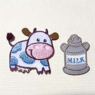 Iron On Patch/ Applique ↪ Blue & White Cow & Milk 🐄🐄  💱 $3.90 Each Set - 2 Pieces