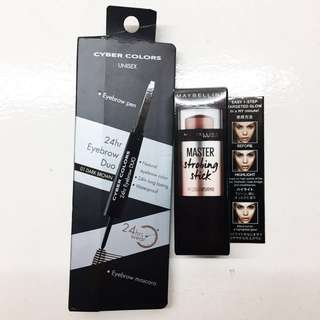 Maybelline Strobing Stick & Cyber Colors Eyebrow Pen and Mascara