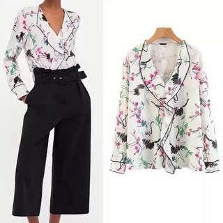 Europe V collar lotus leaf print blouse shirt blouse