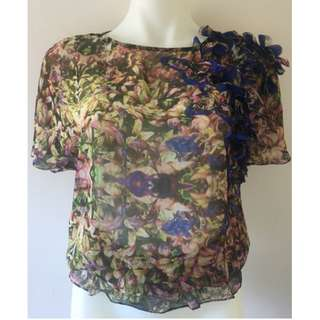 Ted Baker Teren 3D Frill Shoulder Top / Size 1 / SMALL