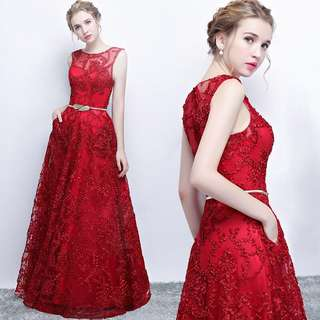 Instock Red Long Gown with belt