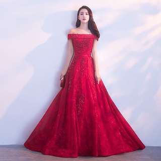 In-stock Wine Red Evening Gown