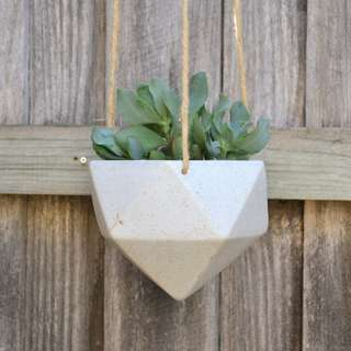 Cream Speckled Geometric Hanging Planter with Natural Jute Hanger