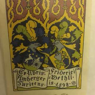 1898 藏書票ex libris,彩繪