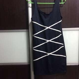 Perniwern Cross Bodycon Dress In Navy