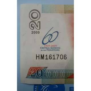 20-Piso NDS with Overprint:  BSP 60 Years of Central Banking in the Philippines