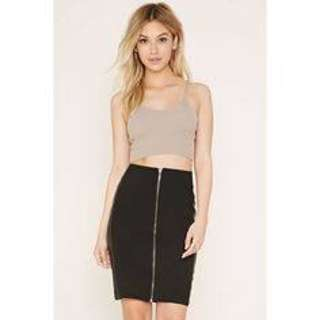 Rok hitam faux leather forever21