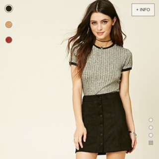 Suede button up skirt f21