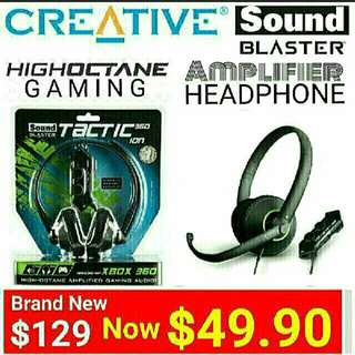 Sound Blaster Gaming Headset With Built-in Stereo Amplifier for PC/MAC  & Xbox 360®.  Model:Tactic360 ion. Usual price: $129.90  Special Price: $49.90 ( Brand New & Sealed) whatsapp 85992490 To Collect From Any Mrt Stn In Town.   Last set left