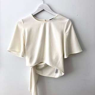 The Fifth ivory white top/tee with ties at back