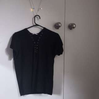Cotton on lace up tee