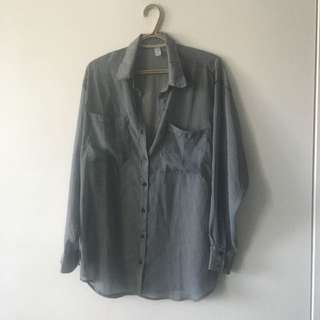 AMERICAN APPAREL OVER SIZE CHIFFON BUTTON UP