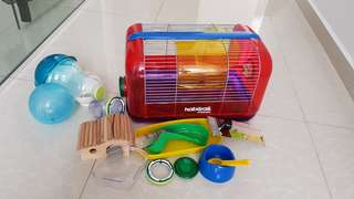 Hamster cage with full accessories