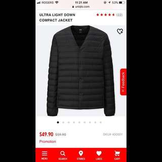UNIQLO ULTRA LIGHT DOWN COMPACT JACKET SIZE L
