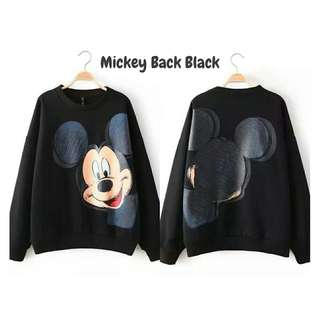 SWEATER MICKEY BACK BLACK