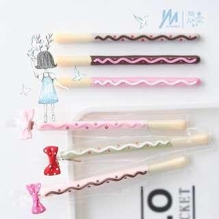 Cute pocky pens kawaii pastel pink brown pen