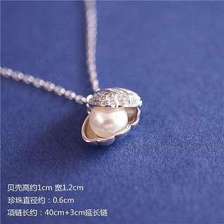天然珍珠+925純銀貝殼頸鏈