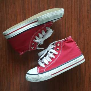 Red Hi Cut Sneakers for Boys Size 2