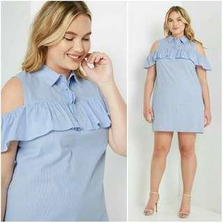💞SALE Alert💞 -Yunik- Button Up Cold Shoulder Dress For Plus-Sized Women