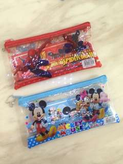 Superman . Mickey Mouse - pouch with stationary