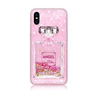 iPhone X Cute Girly Pink Liquid Glitter Soft Case (Perfume)