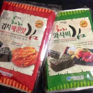 🚚 韓國海苔/泡菜海苔/芥末海苔 一袋5入 大片裝
