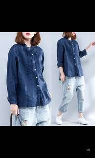 Ladies Plus Size new shirt female long-sleeved retro loose art old cotton linen shirt