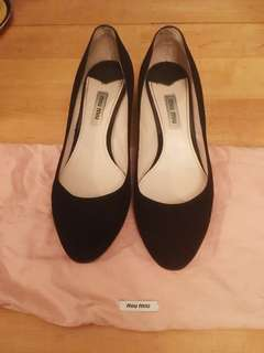Miu Miu Black Suede Medium Heels