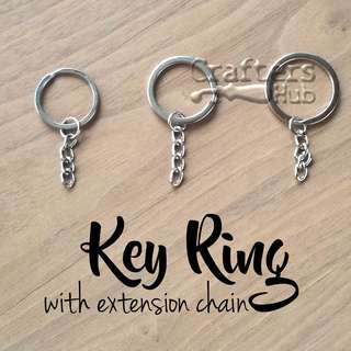 Key Ring / Keychain / Key Ring With Extension Chain / DIY Keychains for Charms, Amigurumi, Name Tag, Shrink Art