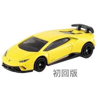 一對全新未開封 Tomica No.34林寶堅尼 - 2018 Lamborghini Huracan Performante ( 黃色初回版 )  及 ( 橙色基本版 ) 一對