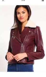 Tommy Hilfiger Geri Leather Jacket Wine Size 8 Brand New RRP€699