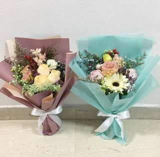 Fresh Flower Bouquet in Roses and Baby Breath with Mix Fillers / Proposal Bouquet / Anniversary Bouquet / Get well soon flowers