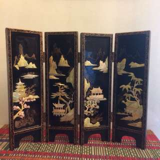 "14"" Vintage mini oriental mother of pearl lacquer folding screen"