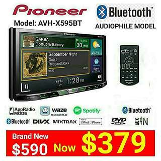 "PIONEER Car Stereo Unit  AVH-X595BT  7"" Touchscreen Bluetooth DVD/CD/USB/AUX with Audiophile FLAC File playback + SPOTIFY+ FM Tuner. Usual Price: $599 Special price: $379 (Brand new in box & sealed)"