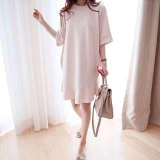 正韓 粉紅色魚尾裙襬洋裝