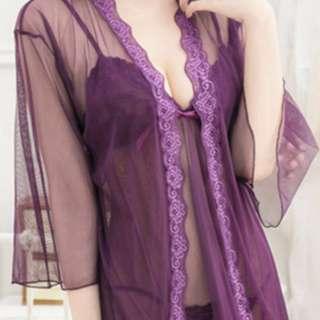Violet Messya Sexy Lingerie Set -Robe, Inner Dress +Cute G-string