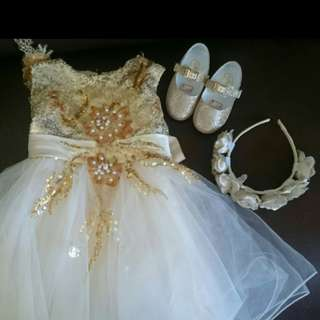 BABY GOWN with shoes & flower crown