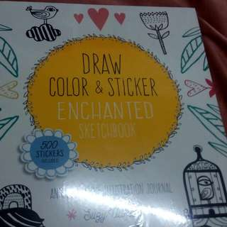 Draw and color, sticker book