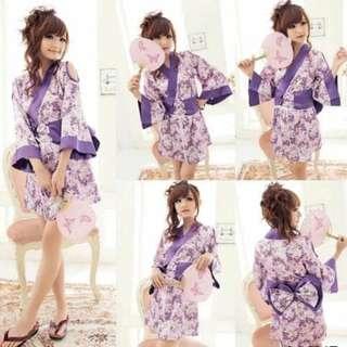 Cosplay Kimono Purple Aruki Lingerie -Belt +Gstring
