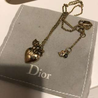 Dior heart gold necklace pendant 心型 吊墜 頸鍊
