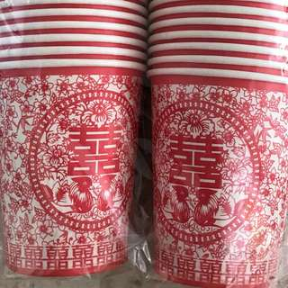 Chinese Wedding - Mini Red Paper Cups (50/pkt)
