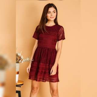 The Stage Walk Lela Textured Lace Dress in Wine Red