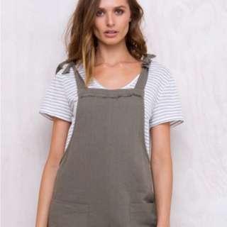Khaki linen overalls